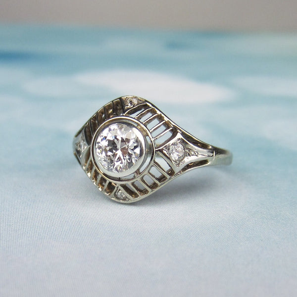 Art Deco Diamond .60ct Filigree Engagement Ring 14k, Poland c. 1930