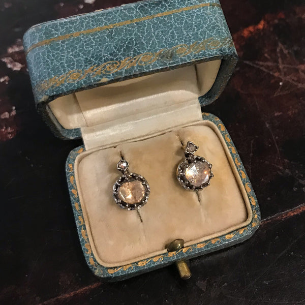 Antique Rose Cut Diamond Earrings Silver/Platinum/14k