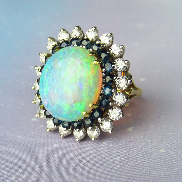 Fabulous Mid-Century Opal, Diamond and Sapphire Ring 18k c. 1960