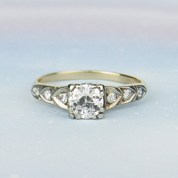 Art Deco Old European .63ct Engagement Ring 14k c. 1930