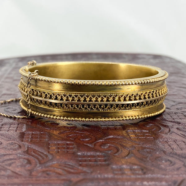 Victorian Etruscan Revival Hinged Bangle Gold-fill c. 1880