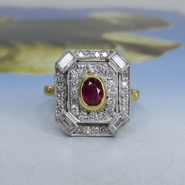 Vintage Ruby and Diamond Ring 18k, British c. 1988