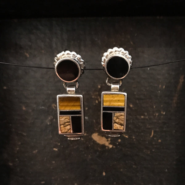Vintage Onyx and Tiger's Eye Inlay Earrings Sterling c. 1990