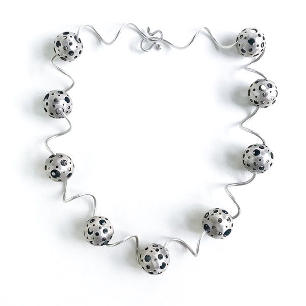 Post Modern Polka Dot Orbs Necklace Sterling c. 1990