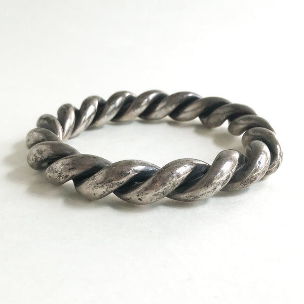 Vintage Chunky Twist Bangle Sterling c. 1980