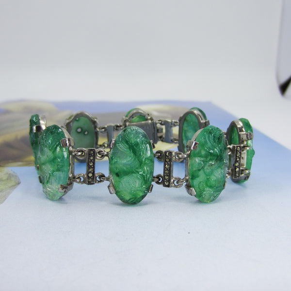 Art Deco Jade Glass and Marcasite Bracelet Sterling, French c. 1920