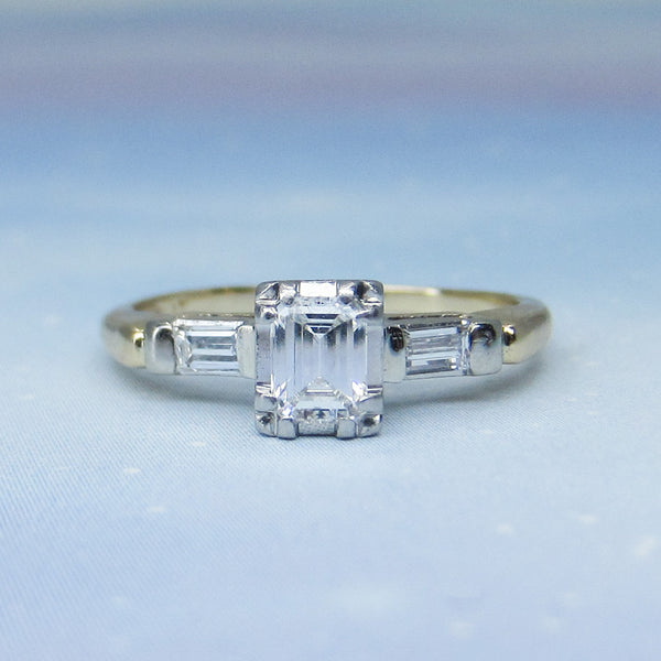 Vintage Emerald Cut Diamond Engagement Ring Plat/14k c. 1940