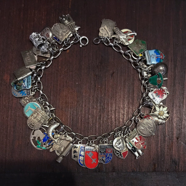 ULTIMATE Travel Charm Bracelet Silver c. 1960