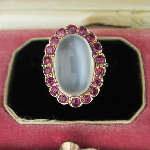 Retro Moonstone and Ruby Ring 14k c. 1940