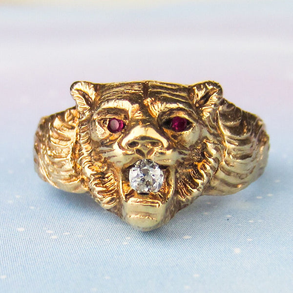 Vintage Diamond and Ruby Lion Ring 14k c. 1940