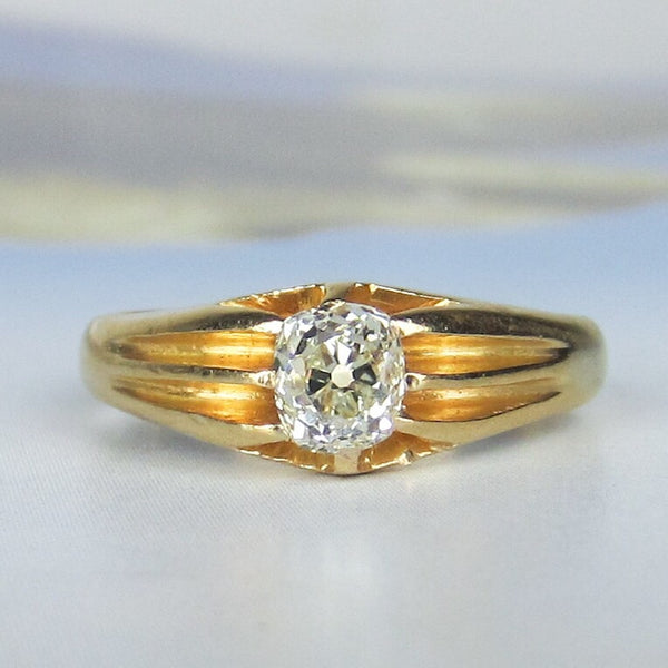 Victorian Old Mine Diamond Engagement Ring 18k 1880