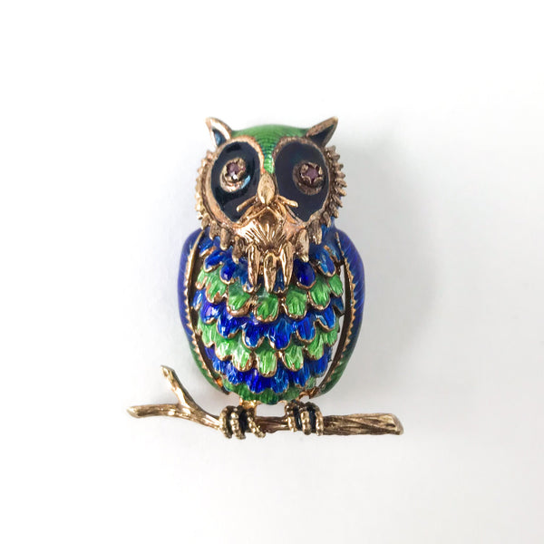 Mid-Century Enamel and Ruby Owl Brooch 14k c. 1960
