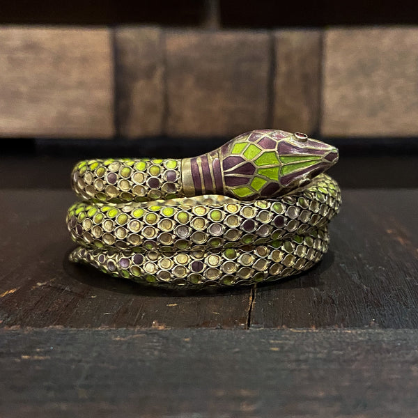 Art Deco Enamel Coiled Snake Bracelet Gilt Sterling c. 1930