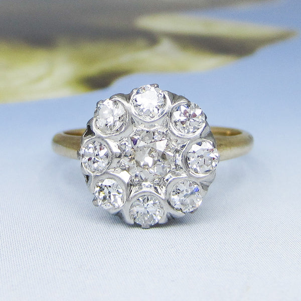 Art Deco Old European Diamond Cluster Ring 14k c. 1920