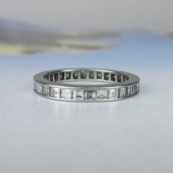 Vintage Square Carre Cut Diamond Eternity Band Platinum, Size 6 c. 1940