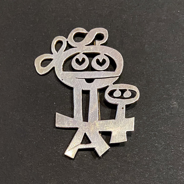 Adorable Modernist Mother and Baby Brooch Sterling, Mik Stousland c. 1960