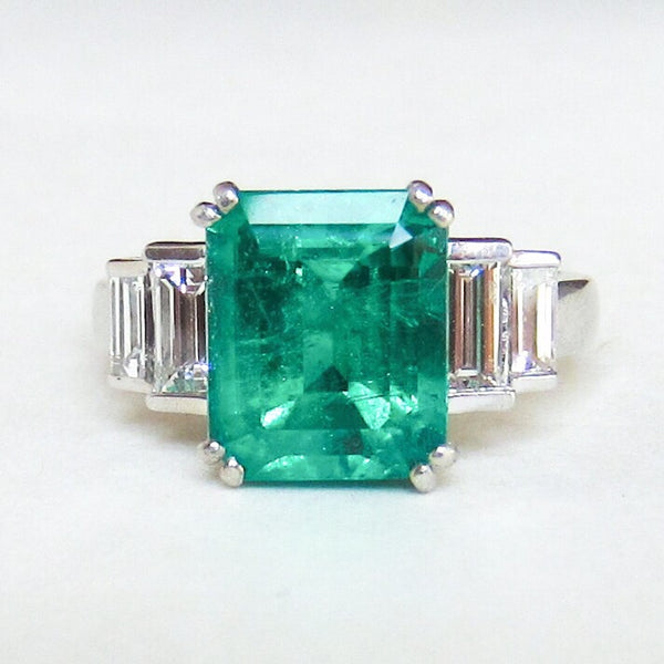GORGEOUS Vintage Emerald 4.57ct and Baguette Diamond Ring Platinum