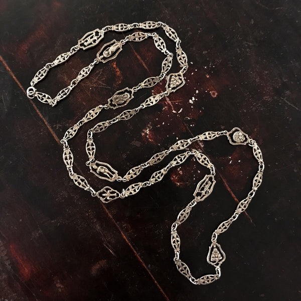 "Antique Italian Grand Tour 42"" Souvenir Chain, Silver c. 1920"