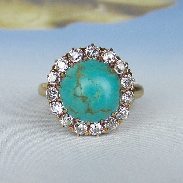 Edwardian Turquoise and Diamond Cluster Ring 14k c. 1900