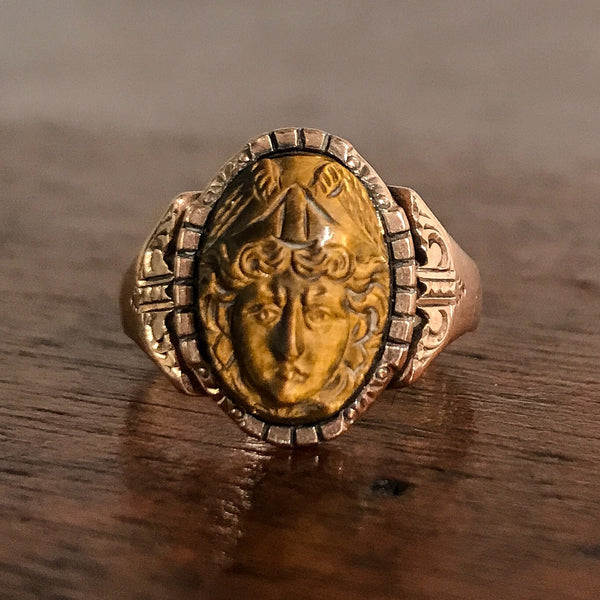 Victorian Tiger's Eye Mercury Cameo Ring 10k c. 1880