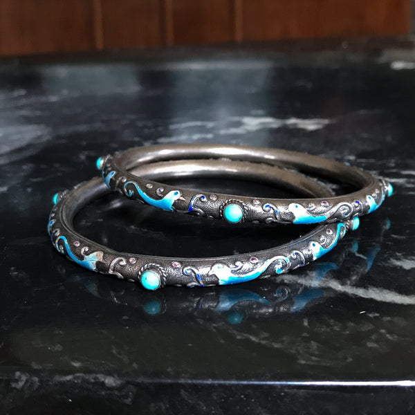 Art Deco Pair of Chinese Enamel and Turquoise Wedding Bracelets Silver c. 1920