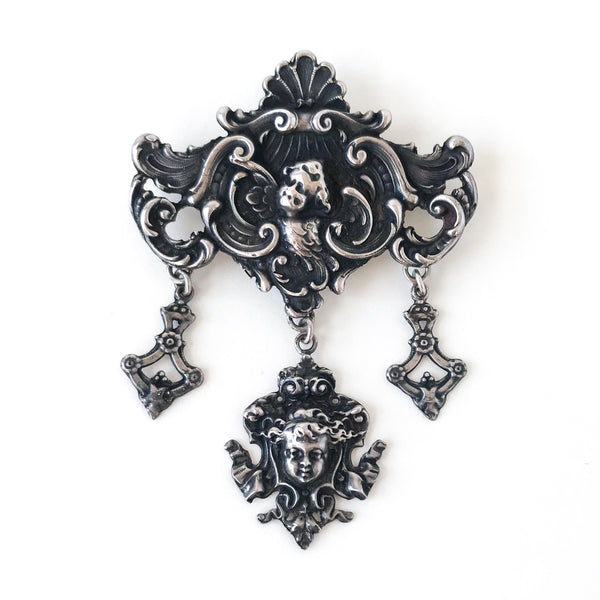 Huge Antique Elements Brooch Sterling c. 1890