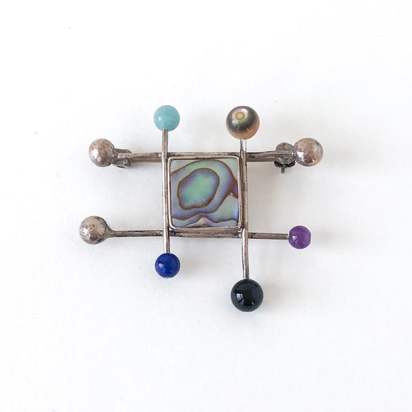 Post-Modern Geometric Multi-Gem Brooch Sterling c. 1990