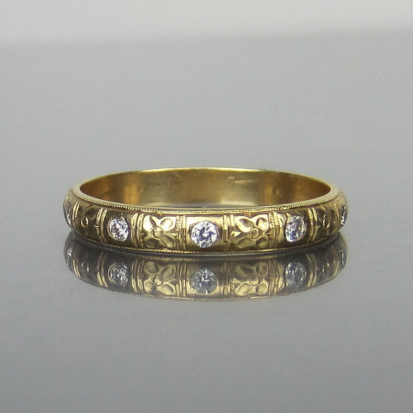 Mid-Century Vintage Patterned Diamond Eternity Band 14k c. 1950