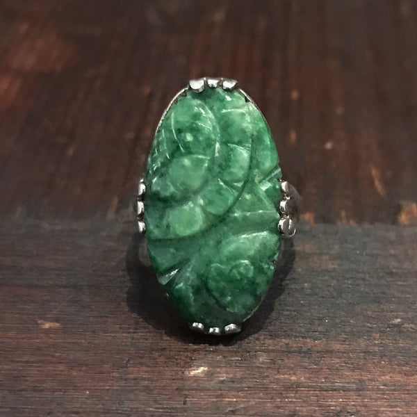 Art Deco Carved Jade Ring Sterling c. 1930