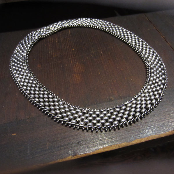 Vintage Woven Mesh Collar Sterling c. 1980