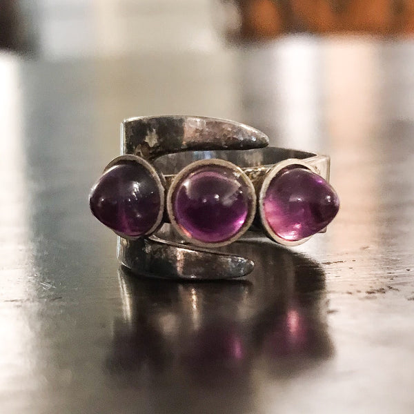Modernist David Andersen Amethyst Bullet Cabochon Ring Sterling, Norway c. 1969