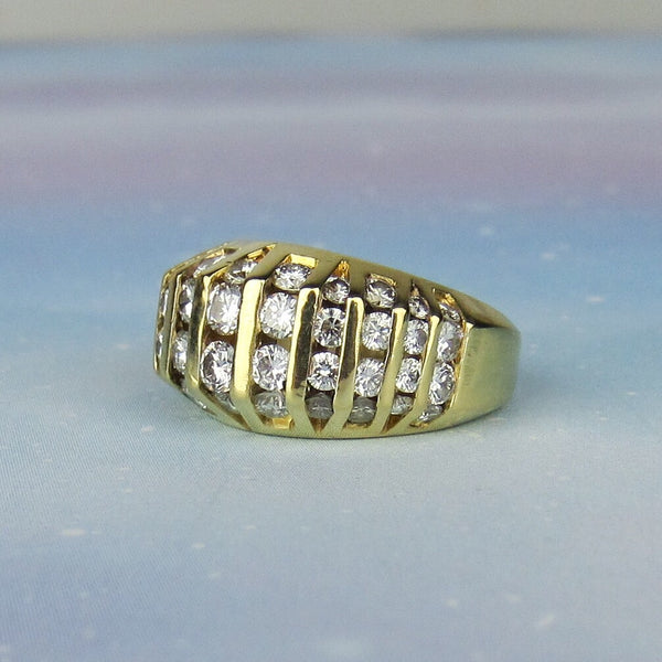 Vintage Chunky Channel Set Diamond Ring 18k c. 1990