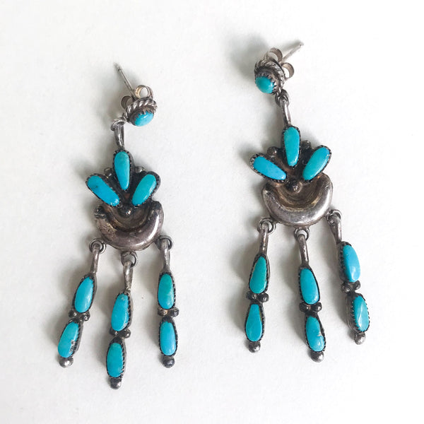 Vintage Zuni Turquoise Fringe Drop Earrings Sterling c. 1960