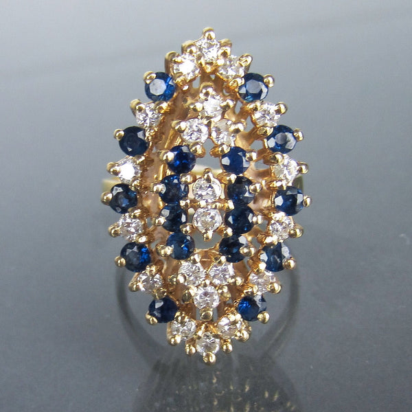 GIANT Mid-Century Diamond and Sapphire Navette Cocktail Ring 14k c. 1960