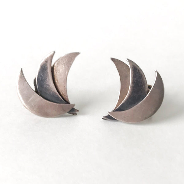 Mid-Century Modernist Crescent Earrings Sterling, Mexico c. 1950
