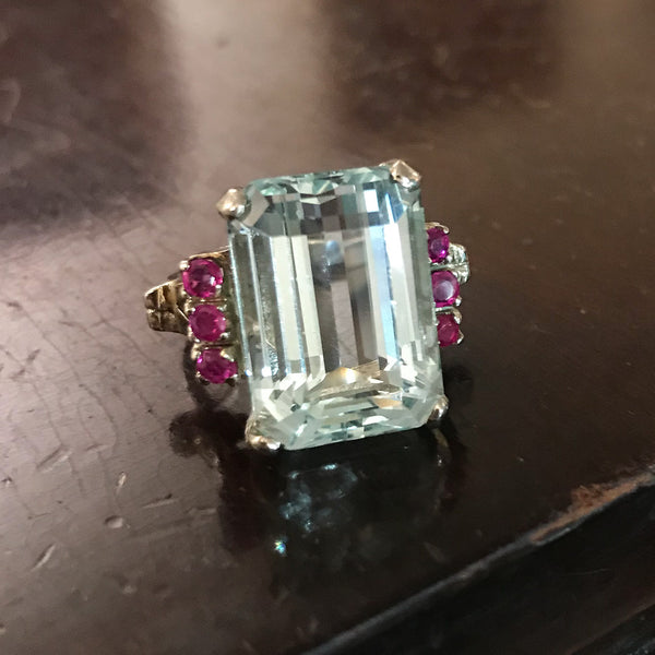 Retro Aquamarine and Ruby Ring 14k c. 1940