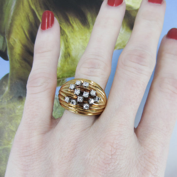 Gorgeous Mid-Century Diamond Bombe Ring 14k c. 1950