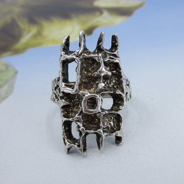 Mid-Century Brutalist Ring Sterling c. 1970