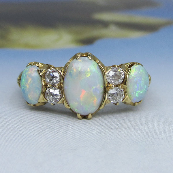 Victorian Opal and Old Mine Diamond Ring 18k c. 1890