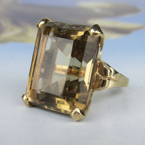 Glam Mid-Century Citrine Cocktail Ring 14k c. 1960