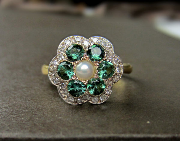 Art Deco Tourmaline, Diamond and Pearl Flower Ring Silver/18k c. 1930