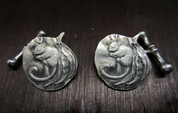 SOLD-- Mid-Century Acorn Squirrel Cufflinks in Sterling Silver, c. 1960