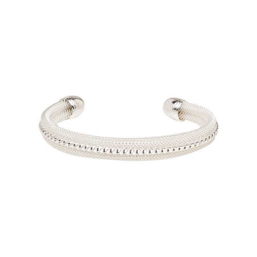 Women's Fashion Cuff Bangle Bracelet with Studded Accents - Silver
