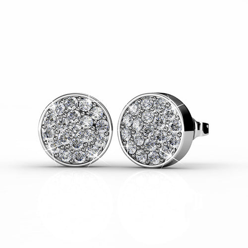 BENEVOLENT Large Silver Stud 18k White Gold Plated Cluster Stud Earring Set with 2mm Swarovski Crystals