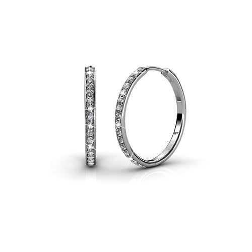AMBITIOUS Large Silver 18k White Gold Plated Round Hoop Earrings with Swarovski Crystals