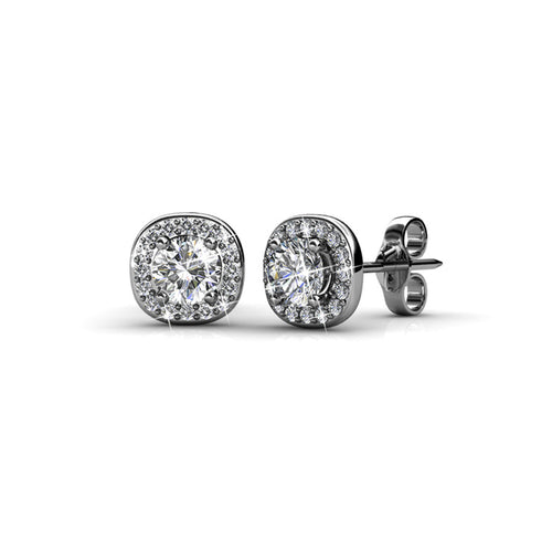 BEAUTIFUL Small Halo Silver 18k White Gold Plated Halo Stud Earring Set with 6mm Center Swarovski Crystals