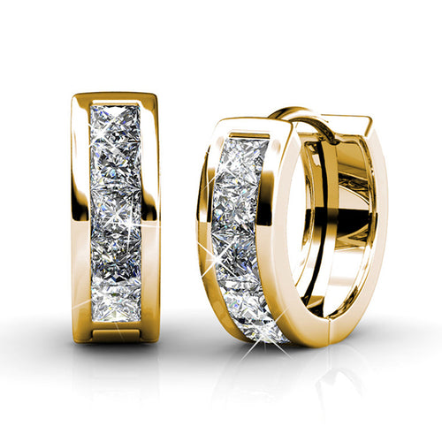 BREATHTAKING Small Gold Huggie Hoop Earrings 18k Yellow Gold Plated Tiny Hoops with Princess Cut Swarovski Crystals