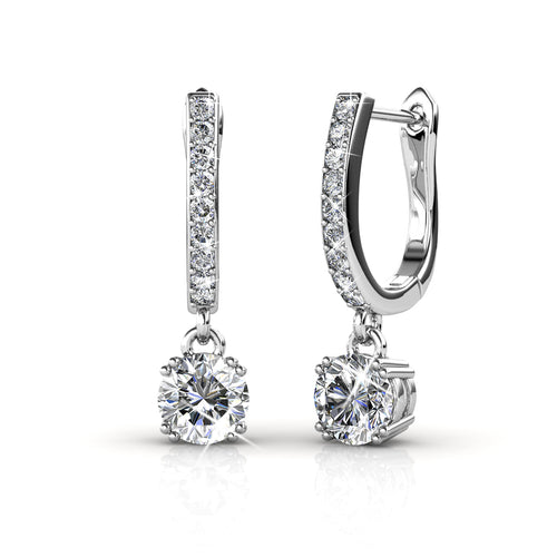 ASTONISHING Silver Brilliant Round Crystal 18k White Gold Plated Horseshoe Dangle Earrings with Swarovski Crystals