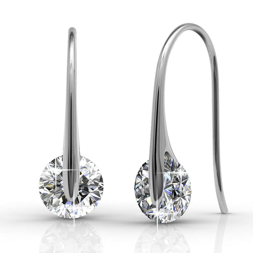 BELOVED Small Silver Drop 18k White Gold Plated Fish Hook Dangle Earrings with 1 Carat Solitaire Swarovski Crystals