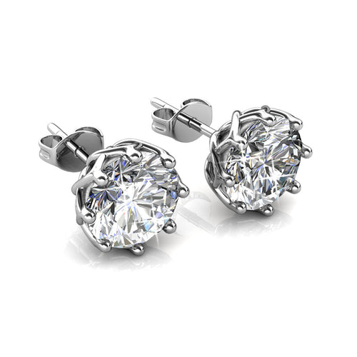 AMUSE Silver Brilliant Round Cut Stud 18k White Gold Plated Earrings with 2ct Swarovski Crystals